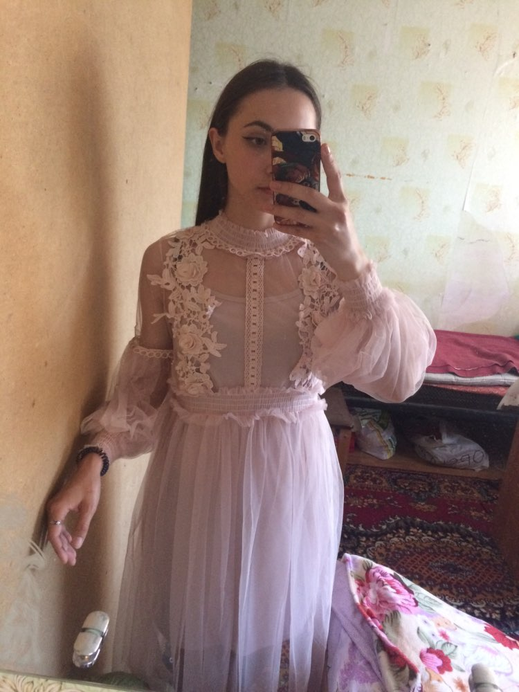 Stand Neck Long Sleeved Party Dresses Women Sweet Mesh Streetwear Mid Calf Dress Female Summer Lace Dress Vestidos photo review