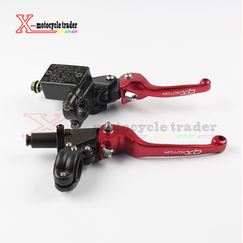Red QX Logo CNC Folding Brake Lever ASV Clutch Lever With Front Pump Fit CRF KLX YZF RMZ Motorcycle Dirt Bike