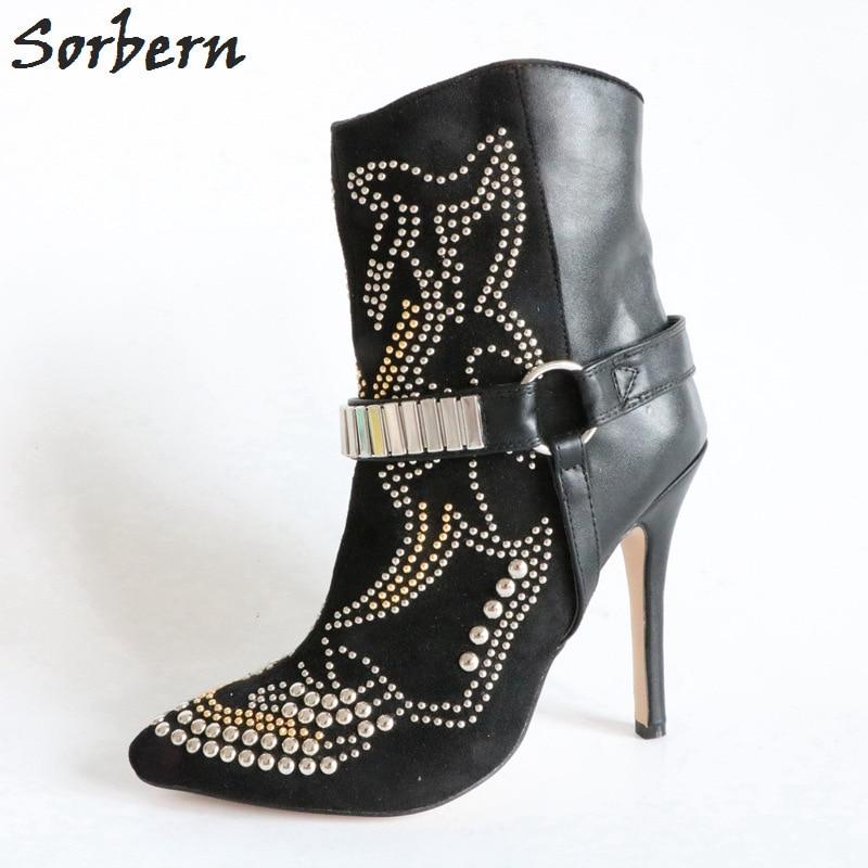 Sorbern Fashion Winter Shoes Rivet Women Boots 12Cm High Heels Women Booties Ankle Boots Designer Glitter Boots Plus Size 15
