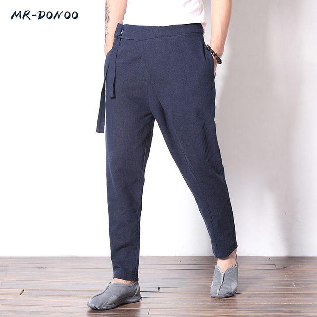 a73077e05c MRDONOO Chinese wind retro cotton and linen feet casual pants men's youth  large size linen pants loose