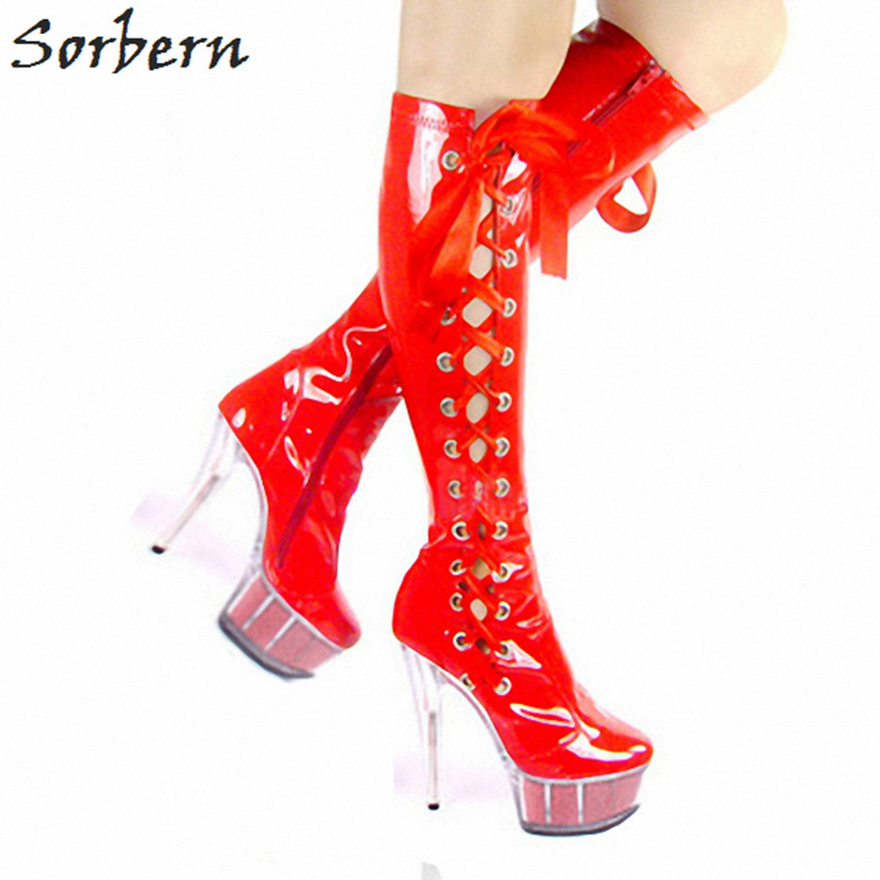 Sorbern Red Lace Up Side Knee High Ladies Boots Glitter Clear Heels Platform Size 46 Heels Plus Size Women 2018 Hot Heels plus size lace up leggings