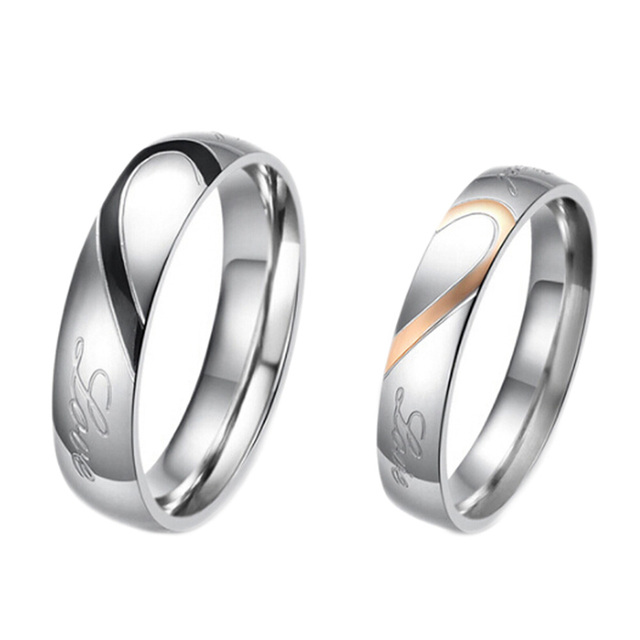 Fate Love Heart And Hers Promise Ring Sets Korean Engagement Wedding Rings For Woman Man