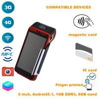 Отпечатанный на палец 5,5 дюймовый портативный смарт терминал POS интегрирован со сканером, принтером (2G/3g/4G/Bluetooth/NFC/wifi/A GPS)