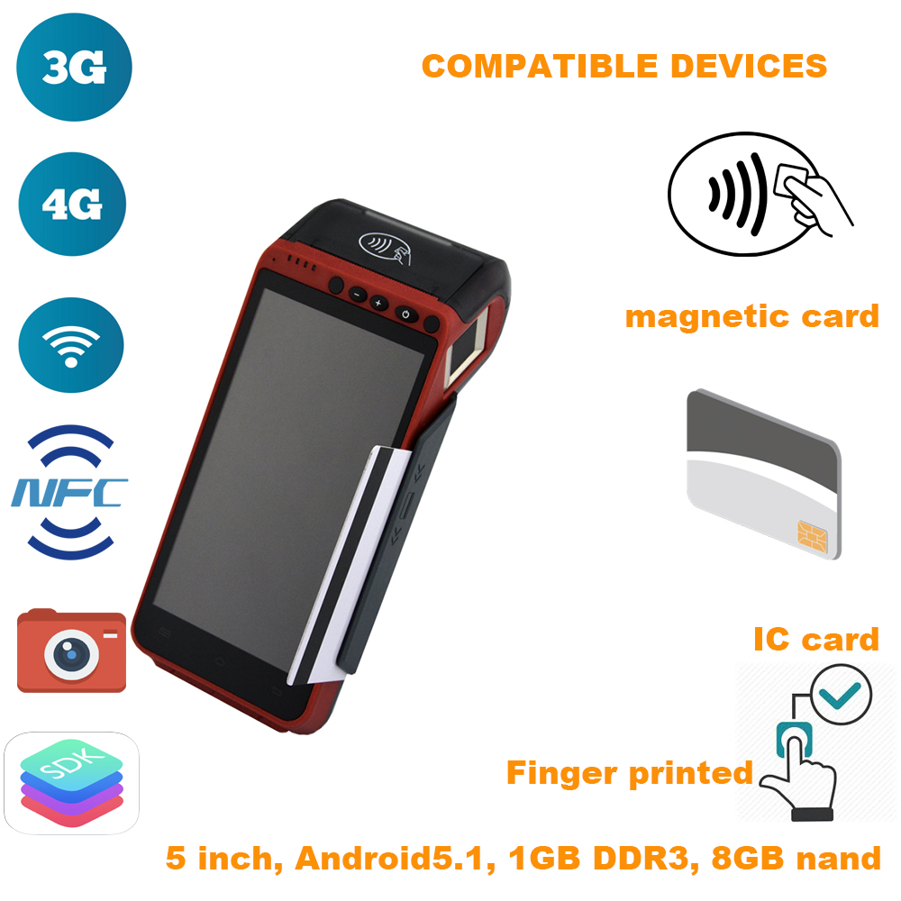 Finger Printed 5.5 Inch Handheld Smart POS Terminal Integrated With Scanner, Printer(2G/3G/4G/Bluetooth/NFC/wifi/A-GPS)