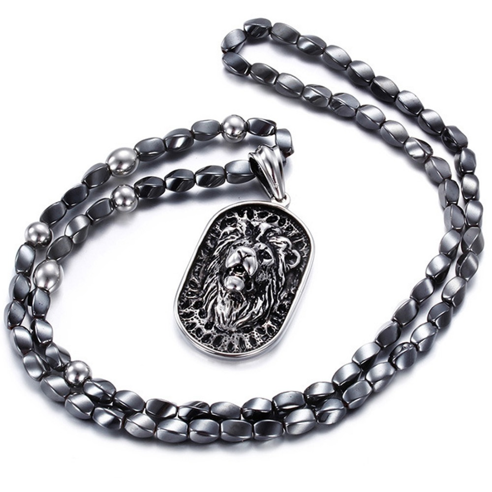 Mens Jewelry 316L Stainless Steel Silver Silver Cross Skeleton/Cool Lion Pendant Necklace Black Beads Fashion Stone Rosary Chain gj303 rhinestones 316l stainless steel couple s ring black silver size 9 7 2 pcs