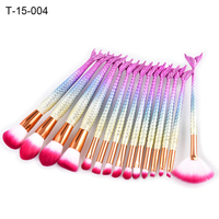 Mermaid Tail Style Makeup Brushes Set Fan Shape Foundation Soft Nylon Brush Gift