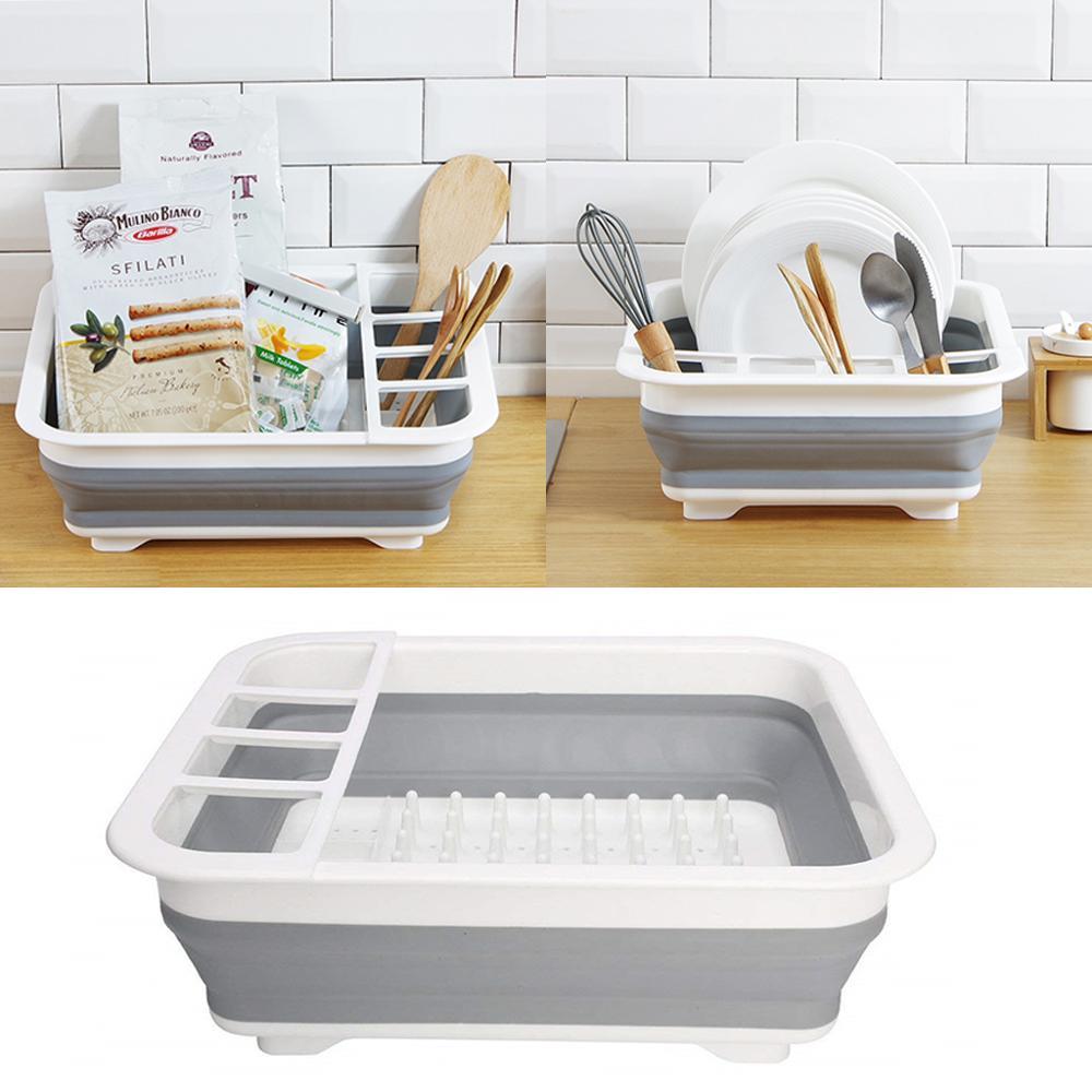 Folding Sink Shelf Plate Dish Drain Rack Kitchen Cabinet Tray Storage organizer