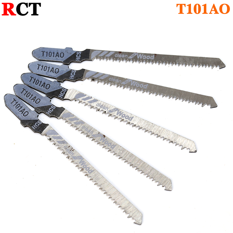 5pcs T101AO Jigsaw Blade Set High Quality Jig Saw Blades Clean Cut Wood Cutting Tool 1.5-15mm rct 5pcs high quality 10pcs hcs hss ground teeth straight cutting t shank jig saw blade for wood