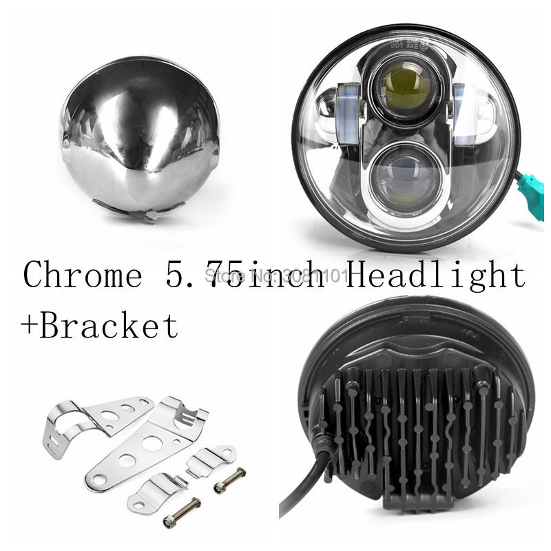 40W Chrome Hi/Low Beam 5-3/4 Projector Daymaker Headlight with Lamp Shell Bracket Clamps for Motorbikes/Metric bikes/Cruisers 5 3 4 led headlight for triumph rocket iii 3