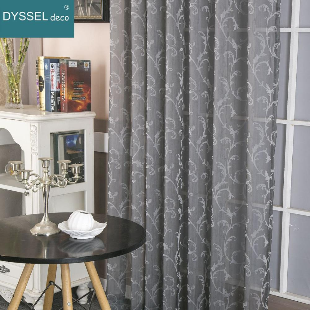 Retro Deco Home Geometric Jacquard Floral American Style Sheer Window Curtains Pencil Pleat Grommet Top For Living Bedroom