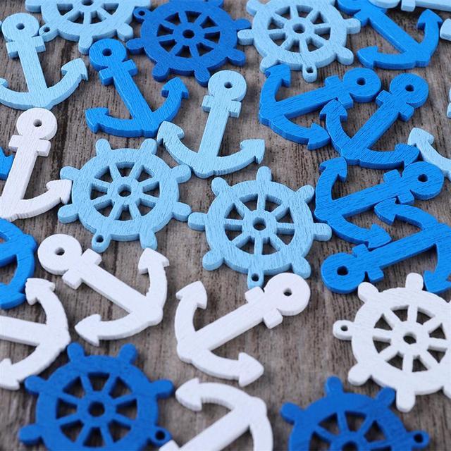 100pcs DIY Wooden Maison Buttons  Anchor and Helm Wooden Pendants Home Decor Scrapbooking Home Decoration (Random Color) 2