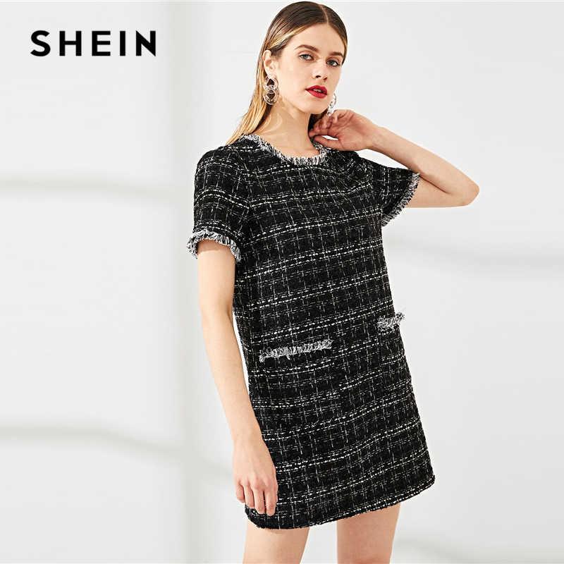 Шеин черный круглый вырез необработанный край Кнопка деталь твидовое платье бахрома выходные повседневные женские летние современные женское короткое платье