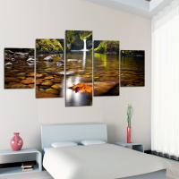 5 Panel Waterfall Painting Canvas Wall Art Painting Home Decorating Salon Canvas Print Painting Canvas With Frame