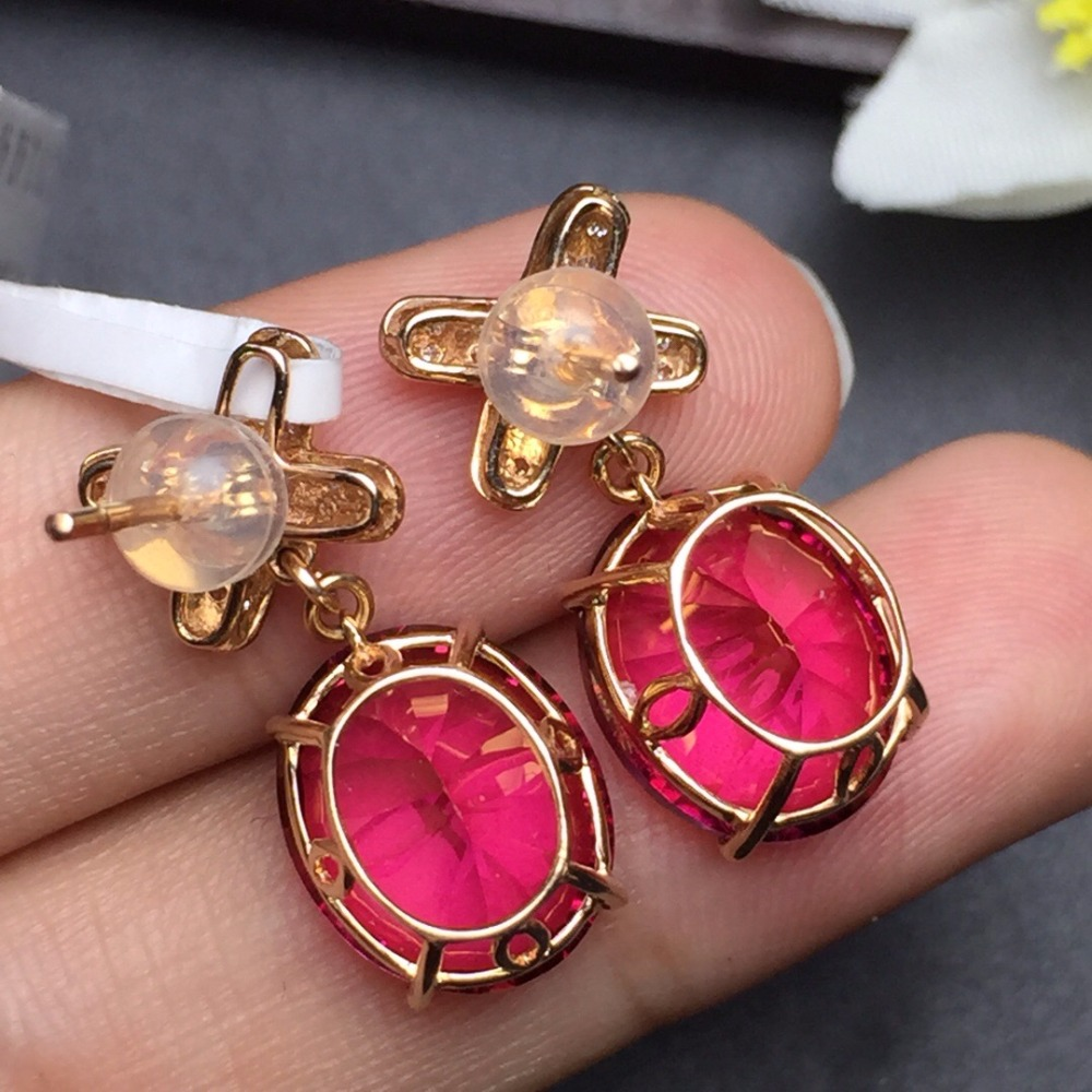 Fine Jewelry Collection Real 18K Rose Gold AU750 100% Natural Red - Joyas - foto 6