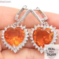 Real 13.5g 925 Solid Sterling Silver Big Gemstone 15x15mm Heart Shape Golden Citrine Natural CZ Earrings 40x20mm