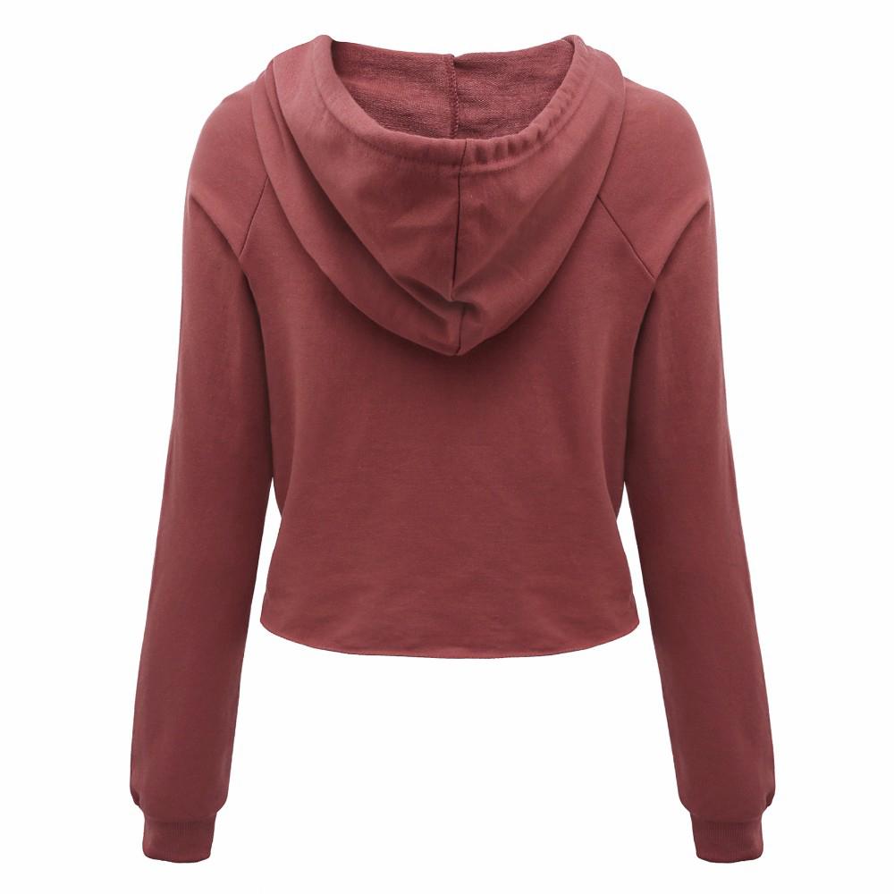 e4e4025f6b855 Women s Long Sleeve Hooded Pullover Short Crop Tops Cute Crop Top-in ...