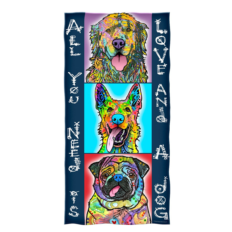 Colorful Dog Puppy Kitchen Face Beach Towels All You Need