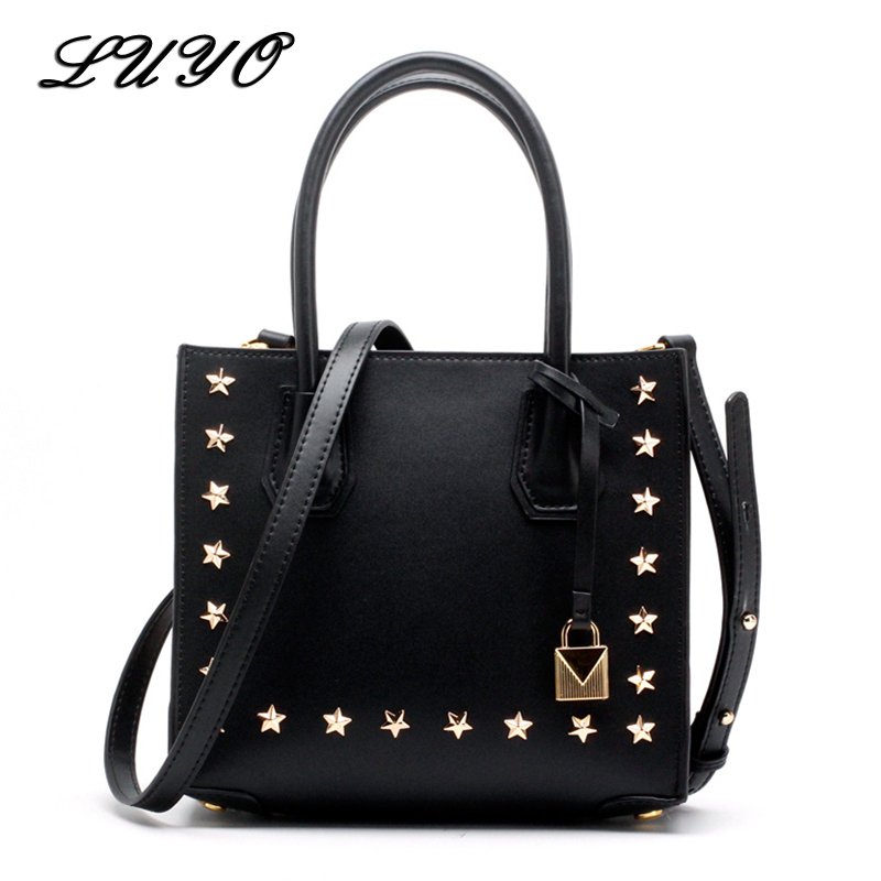 LUYO Rivet Genuine Leather Five Stars Luxury Handbags Women Bags Designer Tote Bag Neutral Michael Female High Quality Shoulder luyo vintage genuine leather ladies handbags casual hobos tassel women shoulder bag bolsa feminina designer tote high quality