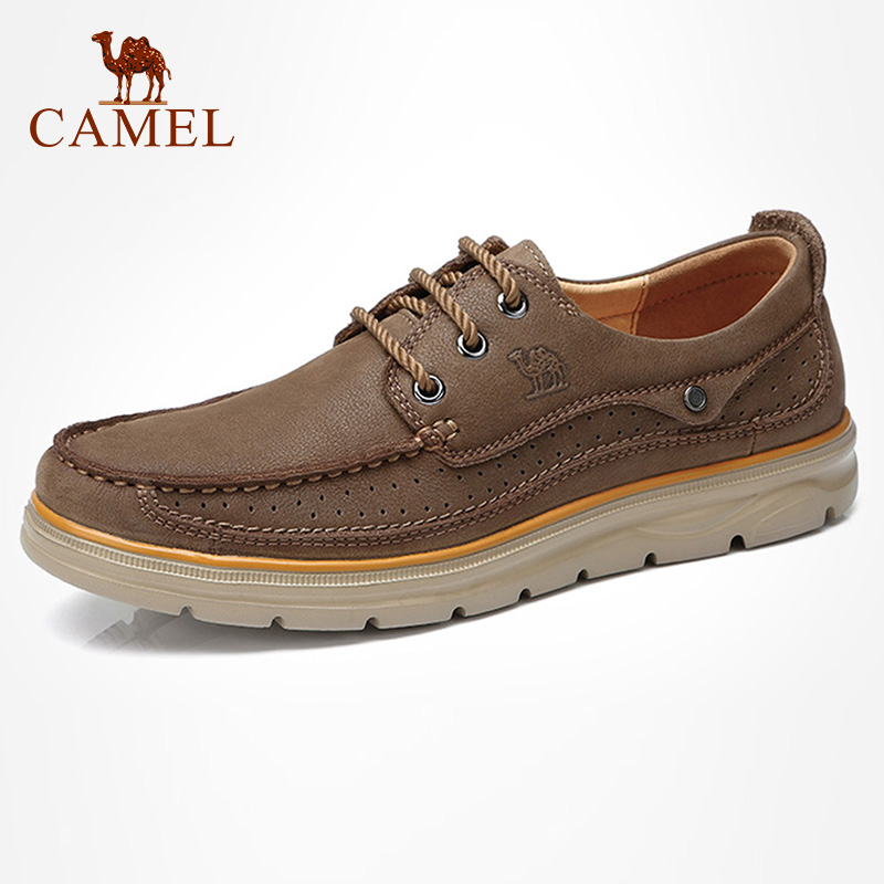 CAMEL Genuine Leather Men Casual Shoes Comfortable Fashion Footwear Soft Cowhide Male Man Shoes Mocassin Cuir Homme