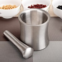 Stainless Steel Mortar and Pestle Food Mills Grinding Container Mortar Grinder Pot Garlic Pounder Pestle Mortar Leak Proof Cover