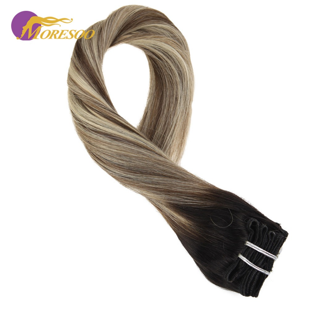 Moresoo Real Remy Human Hair Clip In Hair Extensions Black #1B Fading To Brown #8 Highlight With Blonde #24 Full Head 9Pcs/100G