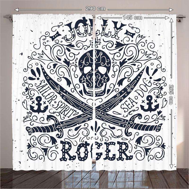 rideaux style marine salon chambre esprit du marin chien de mer ocean rock crane pirate ancre noir blanc 290x265 cm maison