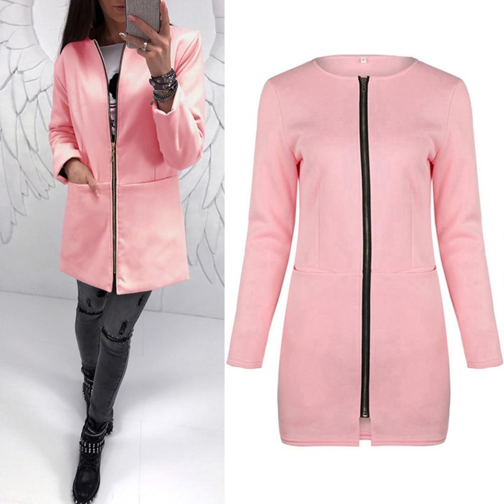 Для женщин Повседневное одноцветное Цвет осень длинные Стиль куртка коктейль теплые ...