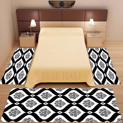 Else 3 Piece Black White Damask Ethnic Vintage 3d Pattern Print Non Slip Microfiber Washable Decor Bedroom Area Rug Carpet Set