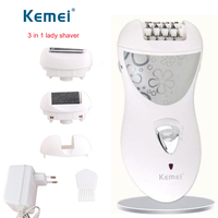Kemei Epilator 3in1 Rechargeable Electric Foot Care Tool Hair Remover Lady Shaver Depilatory For Women Face