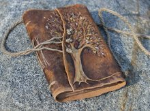 Wedding guest book Tree of Life leather journal weddings bridal shower engagement anniversary genuine
