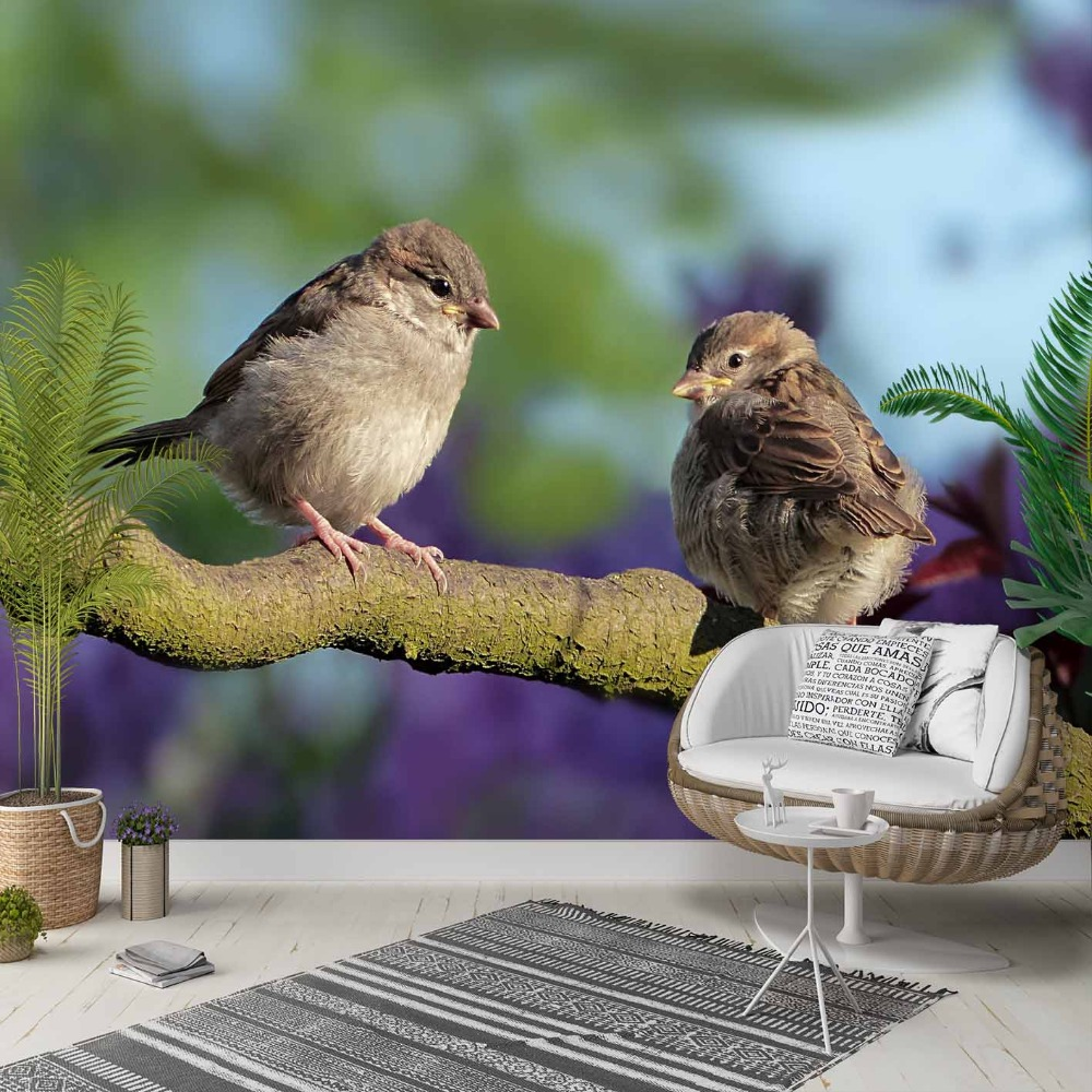 Else Brown Tree Branch Little Sparrows Birds 3d Photo Cleanable Fabric Mural Home Decor Living Room Bedroom Background Wallpaper
