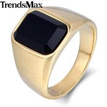 Trendsmax di Fidanzamento Band Ring per Gli Uomini 316L Anello In Acciaio Inox Nero Zirconia 2018 degli uomini di Modo Dei Monili HR389