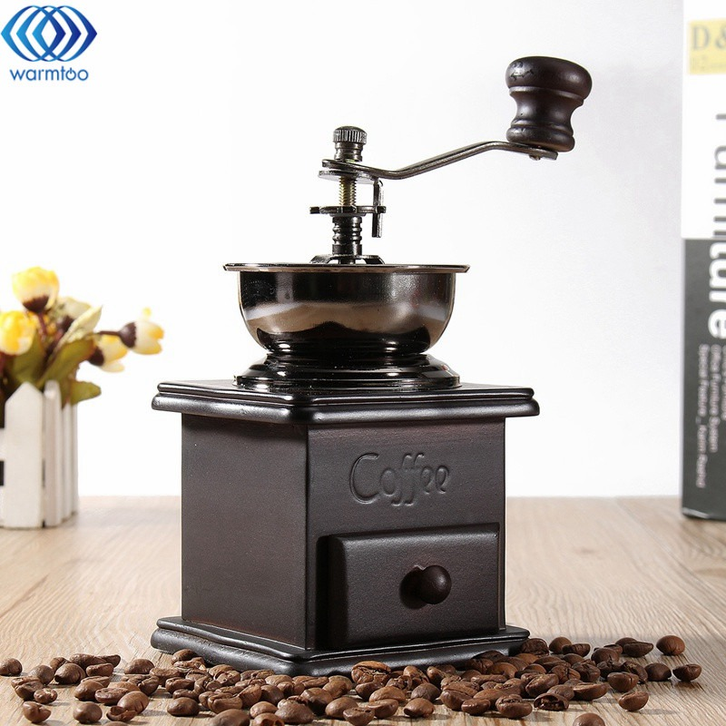 Mini Vintage Coffee Grinder Hand Coffee Bean Grinding Machine Manual Roller Crusher Flour Mill Bowl Antique High Quality