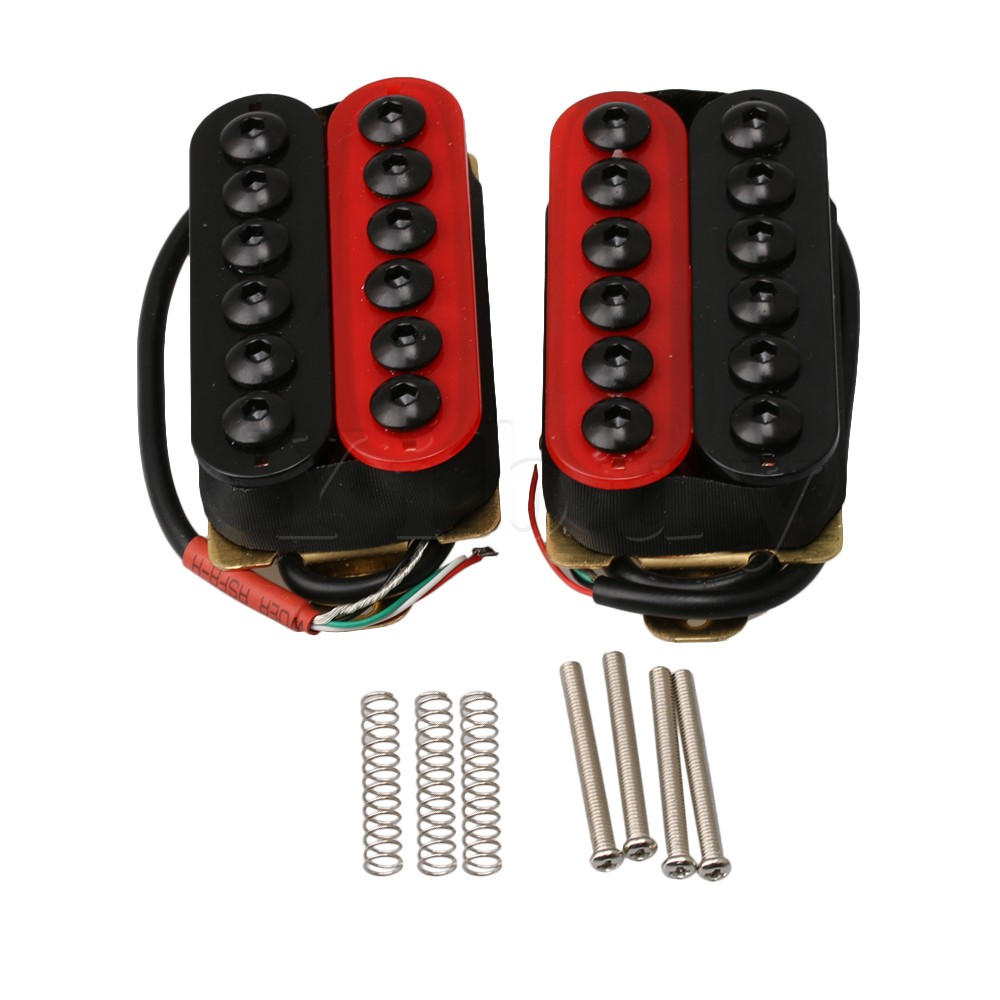 medium resolution of yibuy double coil humbucker electric guitar neck bridge pickup red and black in guitar parts accessories from sports entertainment on aliexpress com