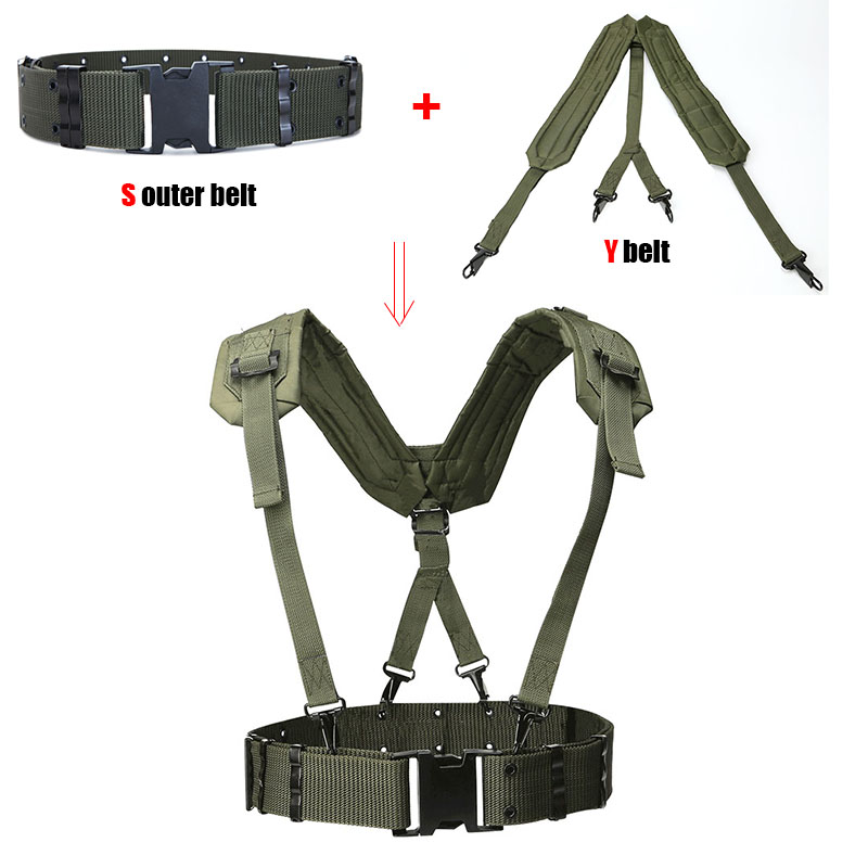 Outdoor Tactical Belt CS Army Fans Combat Belts Military Hunting Accessorios Y Belt Girdle Shoulder Chest Strap Tactico Militar