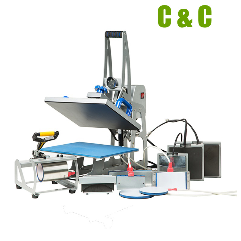 New Semi Auto Magnetic 9in1 Heat Press Machine with T shirt Mug Pen Printing Exchangeable Combo