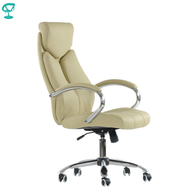 K22PuBeige Office Chair Barneo K-22 Leather High Back Plastic Armrests With Gas Lift Roller Free Shipping In Russia