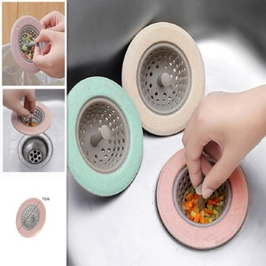 Kitchen Filter Silicone Wheat Straw Strainer Bathroom Shower Drain Sink Drains Cover Sewer Hair Filter 4 Color Optional