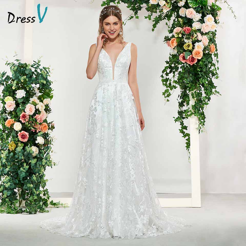 Dressv Elegant Ivory V Neck Sleeveless Lace A Line Backless Wedding Dress Floor Length Simple Bridal Gowns Wedding Dress