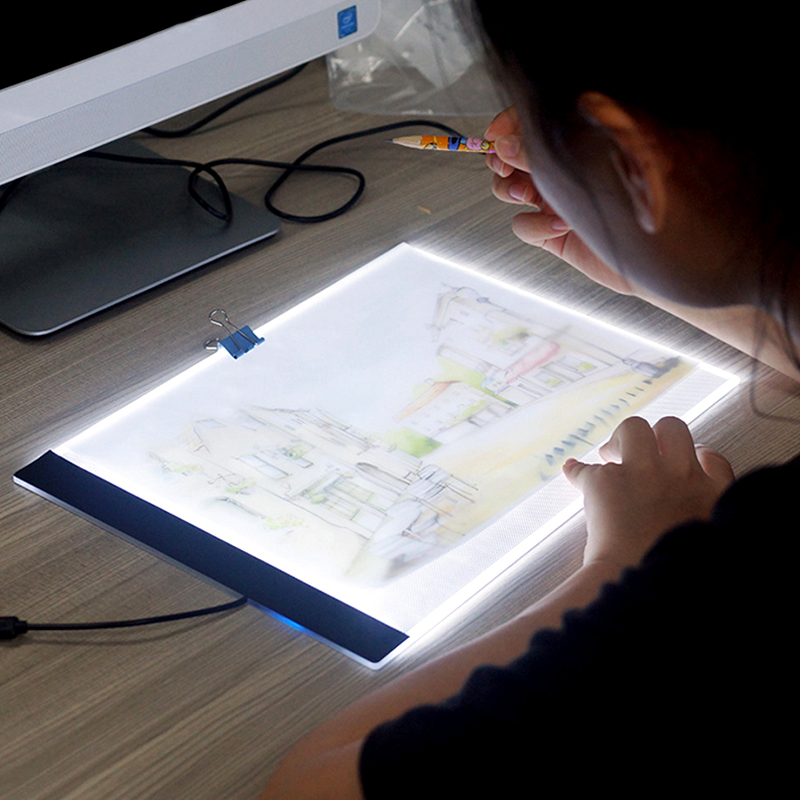 Ultrathin 3,5mm A4 luz LED Tablet Pad se aplican a la UE/AU/UK/US/conector USB bordado de diamantes pintura diamante Cruz puntada herramienta