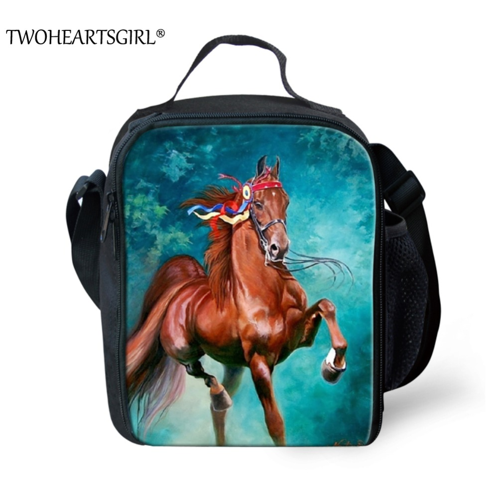 TWOHEARTSGIRL Preppy Horse Prints Lunch Bag for Women Kids Lunch Storage Food Bag Children Portable School Student Lunch Boxes
