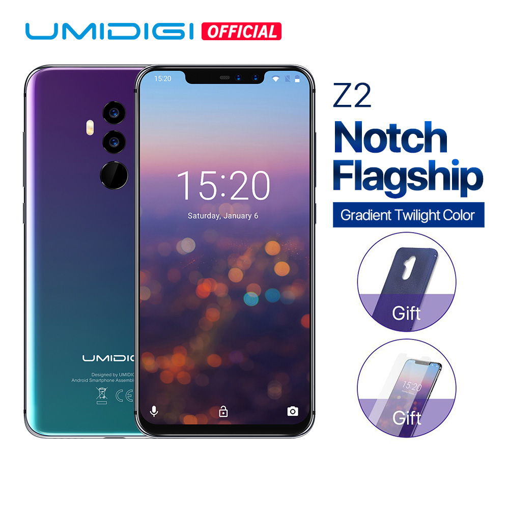 "UMIDIGI Z2 Global Version Helio P23 6GB RAM 64GB ROM 6.2"" FHD+ Full Screen Quad Camera Android 8.1 3850mah Face ID 4G Smartphone"