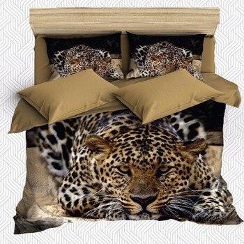 леопардовый комплект постельного белья | Else 6 шт. коричневый желтый черный леопард дикие животные 3D печать хлопок сатин двойное одеяло покрывало Постельный набор наволочка для поду...
