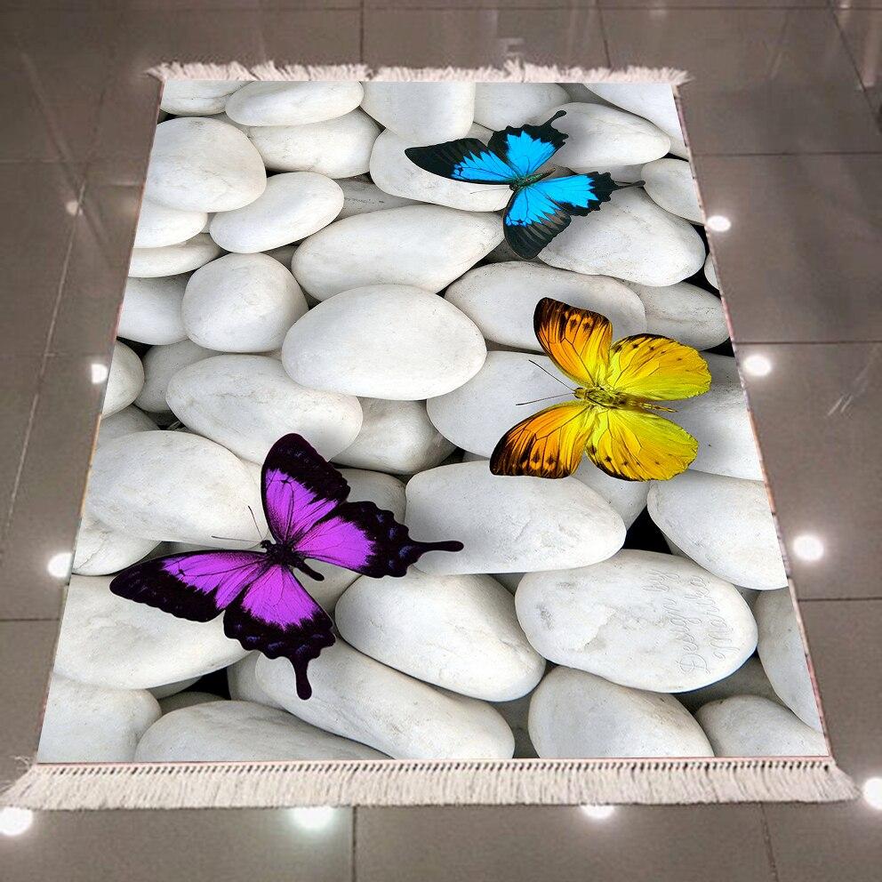 Autre gris blanc galet pierre bleu jaune violet papillon 3d microfibre anti-dérapant dos lavable décoratif Kilim zone tapis