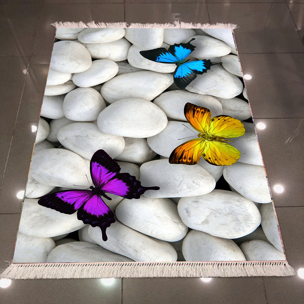 Else Gray White Pebble Stone Blue Yellow Purple Butterfly 3d Microfiber Anti Slip Back Washable Decorative Kilim Area Rug Carpet