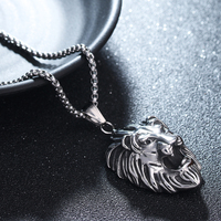 Lion Head Crown Pendant Necklace Made Of Stainless Steel Fashion Necklace For Little Girl Jewelry