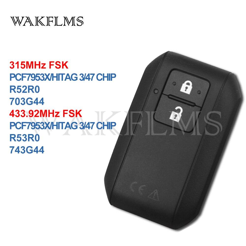 2btns Smart Card Remote Car Key 315MHz 433 92MHz For Suzuki wagonR SWIFT 2017 with PCF7953X