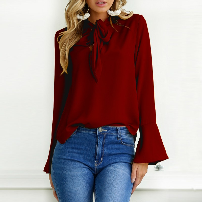 ZANZEA 2018 Spring Lace-up Bow Tie Long Flare Sleeve Women Blouse Casual Solid Baggy Chic Basic Party Shirts Pullovers Plus Size 1