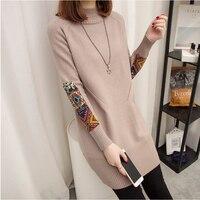 In the long head of Korean folk style women's autumn winter new semi loose sweater Polo neck sweater