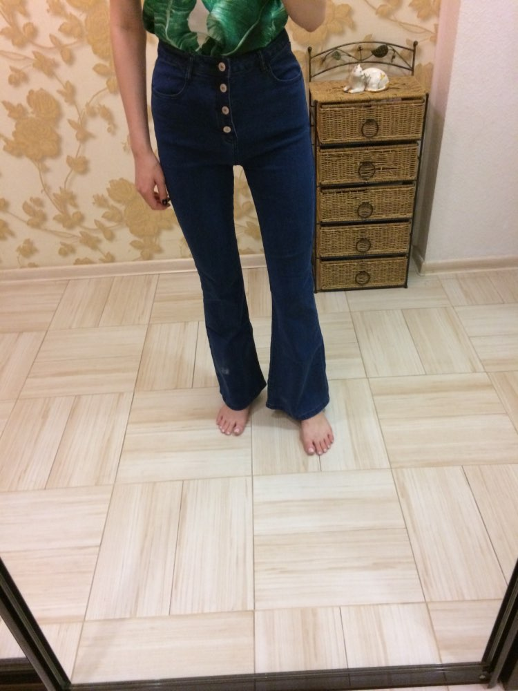 Blue Button Up Flare Hem Jeans Woman Long Denim Trousers Vintage Pants Capris Fall Mid Waist Stretch Women Jeans photo review